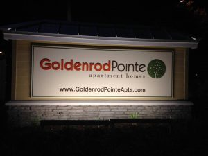 custom lighted monument sign